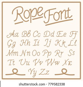 Rope Font. Set  Alphabet Letters made from Braided Cord. Vector Illustration.