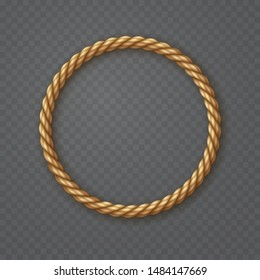 Rope frame isolated on transparent background. Vector round texture string, jute, thread or cord border pattern. Nautical twisted rope circle element.