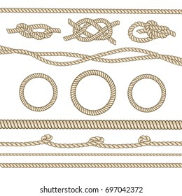 Rope frame knots and corners nautical strong loop. Vector set illustration isolated on white background.