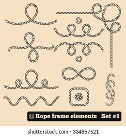 Rope frame line element. For sea style menu, photo. Vector