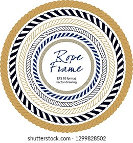 Rope frame . Seamless pattern navy drapes, marine knots. Vector drawing related to maritime. The wall table can be used as ornament, label, gift, boat decoration, icon, keyring, rosette