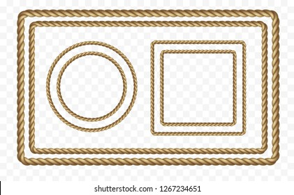 Rope frame set isolated on transparent background. Vector realistic texture string, jute, thread, cord or rope borders pattern.