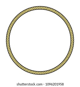 Rope frame in a shape of a circle, isolated vector object.
