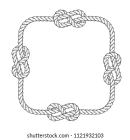 Rope frame - square rope frame with knots, vintage style