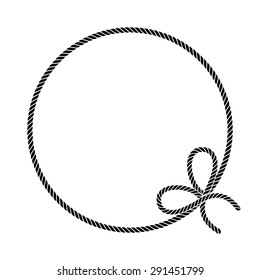 Rope. Frame. Vector pattern. Black and white.