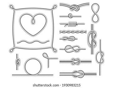 Rope frames, knots and borders, rope twists design elements, vector