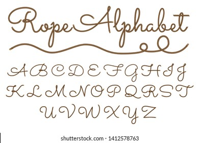 Rope hand drawn font, 3d realistic effect, lowcase letters. Vector illustration EPS 10