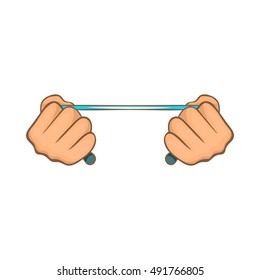 Rope in hands icon in cartoon style on a white background