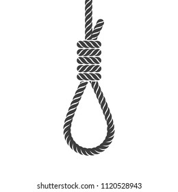 Rope hanging loop. Flat monochrome design style. Vector illustration of rope noose with hangman's knot. Concept of suicide. Death penalty by hanging.