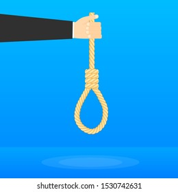 Rope hanging loop. Suicide and business. Tightens noose. Vector illustration.