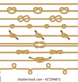 Rope knots collection. Decorative elements. Vector illustration.
