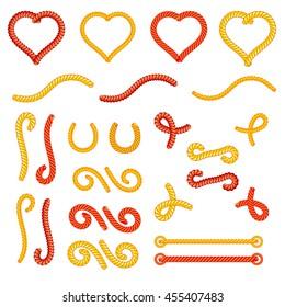 Rope knots collection set, random shapes, loops, decorative elements