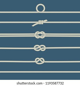 Rope knots. Decorative elements. Vector illustration