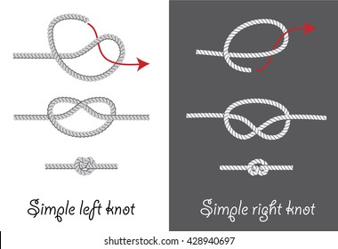 Rope knots. How to tie simple knots instruction. Vector illustration.