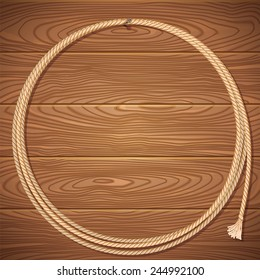 Rope lasso on old wood background.Vector illustration for design