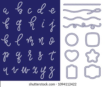 Rope latin alphabet from a to z and set of shapes. Letters made from nautical cord isolated on white background. Laser cut template. Graphic design vector element for wedding invitations, baby shower