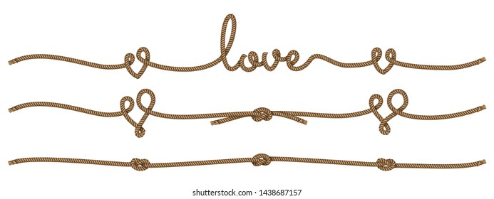 Rope lettering and design elements on the theme of love. Vector illustration EPS 10.