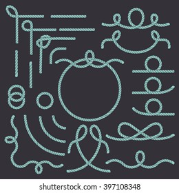 Rope nautical vector borders elements set. Isolated objects. Marine design for your sailor poster, t-shirt, card or web. Enjoy!
