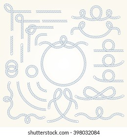 Rope nautical vector borders elements set. Isolated. Marine design for your sailor poster, t-shirt, card or web. Enjoy!