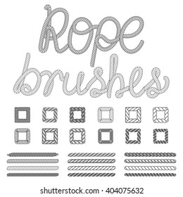 Rope nautical vector pattern brushes set. Ropes pattern. Nautical rope abc