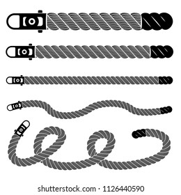 Rope realistic weaving lace set. Simple illustration of rope realistic detailed weaving lace isolated on white vector collection for web or print design