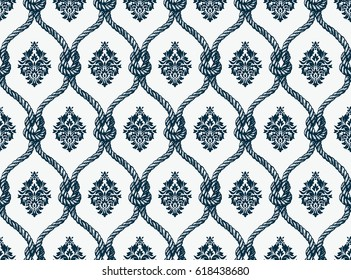 Rope seamless tied fishnet damask pattern. Vector Wallpaper