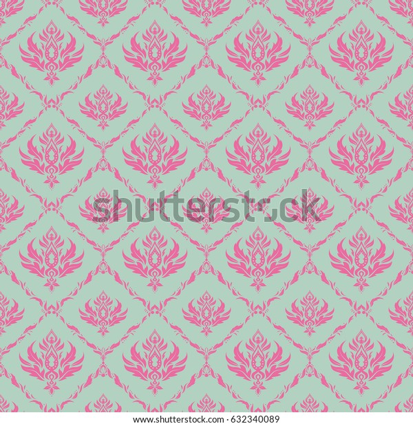 Rope seamless tied fishnet damask pattern in pink and neutral colors. Vector wallpaper.