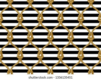 Rope seamless tied fishnet pattern. Damascus style pattern for wallpapers, textile, Scrapbooking etc.