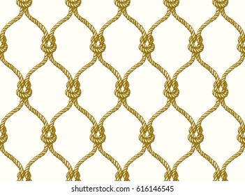 Rope seamless tied fishnet pattern. Vector Wallpaper