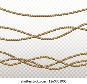 Rope set isolated on transparent background. Vector realistic texture string, jute, thread, cord and gym training rope pattern.