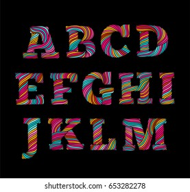 Rope style swirl line lettering alphabet. Hand made font in bright colors. Typographic  letters design for prints and decorations part 1.