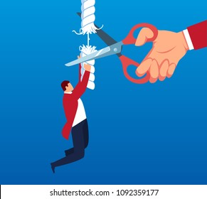 The rope that the businessman climbed was cut off