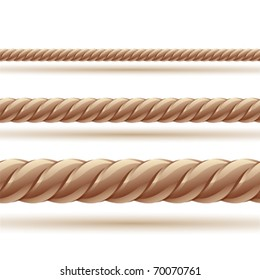 Rope in three sizes. Seamless vector.Clip art illustration