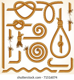 Rope and Tightrope, isolated customizable vector design elements, parts