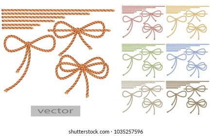 Rope, rope, two-tone thread. Bow tie, tie envelope, gift. Knots colored red, blue, yellow, green, brown. Vector illustration.