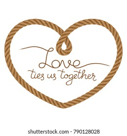 Rope vector heart frame with hand drawn lettering love theme. Also may use for invitation in you designs marine style