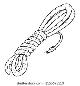 Rope. Vector illustration of a coil of rope. Hand drawn rope.