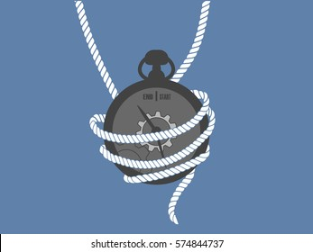 Rope wrapped around clock on blue background.