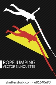 Ropejumping ropejump girl jump with rope from cliff