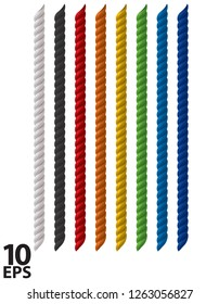 Ropes colored set isolated on white. Realistic vector 3d illustration