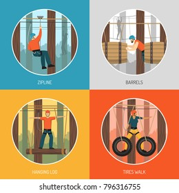 Ropes course outdoor adventure concept 4 flat icons with zip line tour and tires walking vector illustration