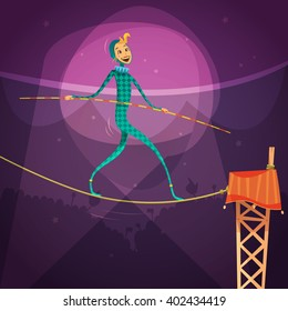 Ropewalker woman wearing a costume with a stick and a rope in the circus cartoon vector illustration