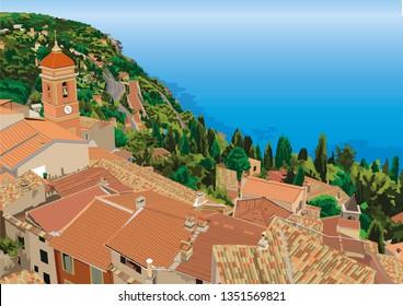 Roquebrune Cap Martin near Monaco in South of France - Mountainous Mediterranean Village Overlooking Sea