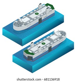 RORO or ro-ro ships vessels designed to carry wheeled cargo, such as cars, trucks, semi-trailer trucks, trailers, and railroad cars. Vector isometric ships isolated set