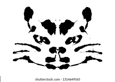 Rorschach inkblot test illustration, random symmetrical abstract ink stains. Psycho diagnostic for inkblot, Rorschach projection psychological techniques or a simple test for silhouette spot Vector