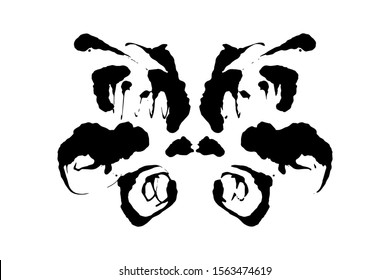 Rorschach inkblot test illustration, random symmetrical ink abstract ink stain. Psycho diagnostic for inkblot, Rorschach projection psychological techniques or a simple test for silhouette spot Vector