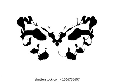 Rorschach inkblot test illustration, random symmetrical ink abstract ink stains.