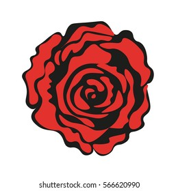 Rosa black and red. Vector illustration.