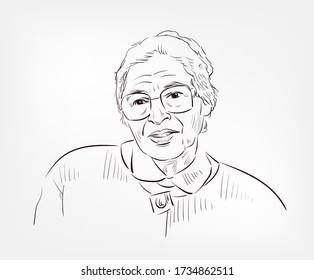 Rosa Louise McCauley Parks famous American activist in the civil rights movement vector sketch portrait