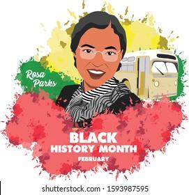 rosa parks or black history month. illustration. vector
